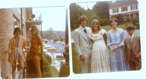 Early teen years..I was always conscious of my weight. Photo on left was taken by my Nana at her apartment...photo on the right was on my dads wedding day to my my step-mother. My gunny sak dress was all the rage. Thats my first real boyfriend on my left. My best friend on the right (we are still very close) and my brother far right.